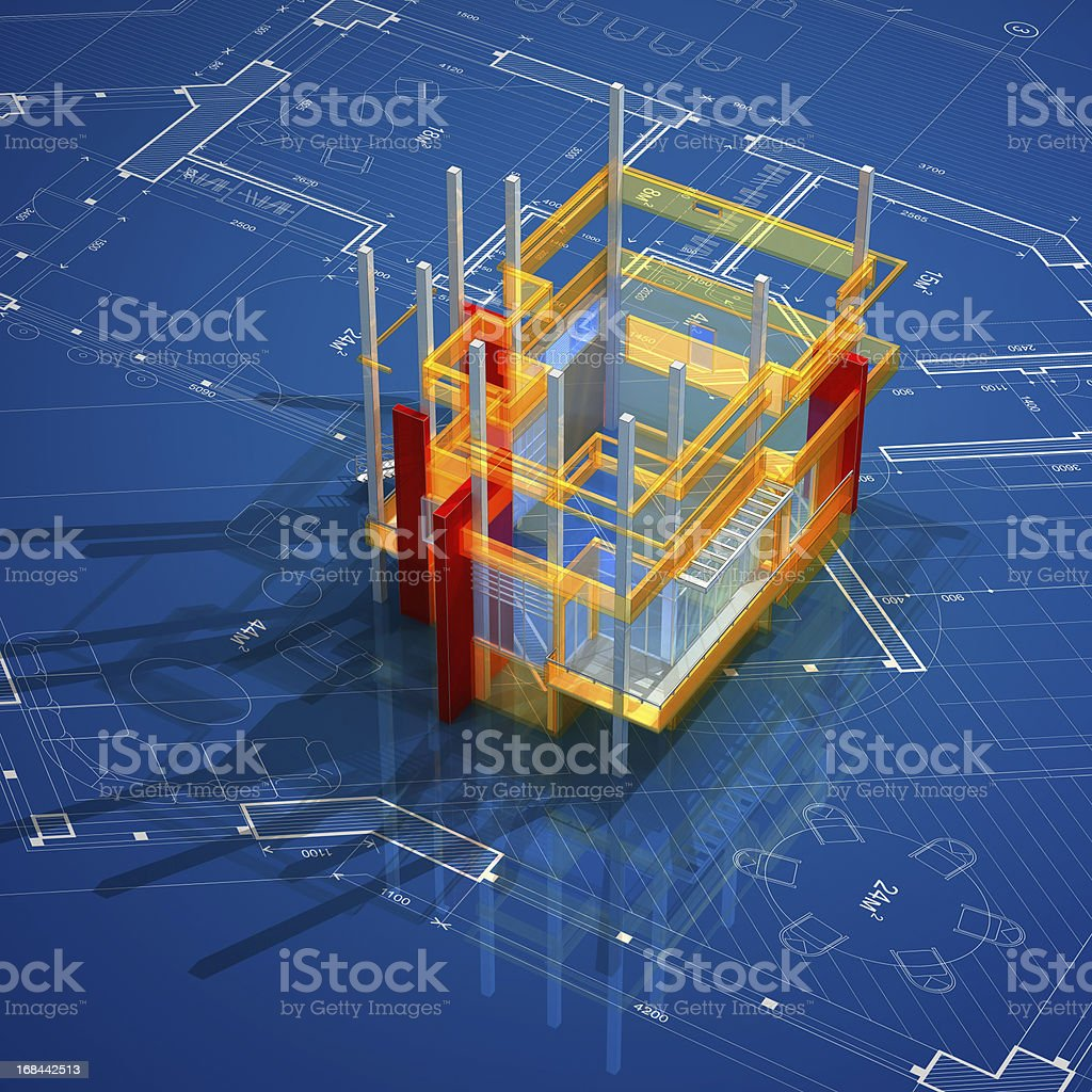 Architecture On Blueprint stock photo