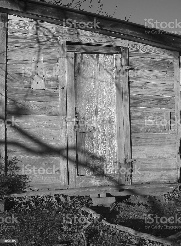 Architecture - Outhouse - grayscale stock photo