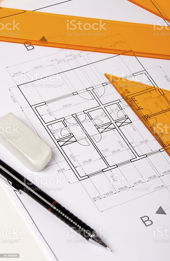 Architecture plan royalty-free stock photo