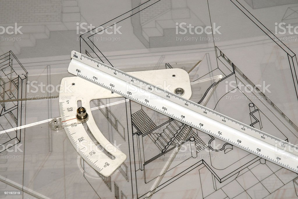 Architecture plan with measurement instruments royalty-free stock photo