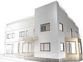 Architecture project, abstract wire-frame construction house