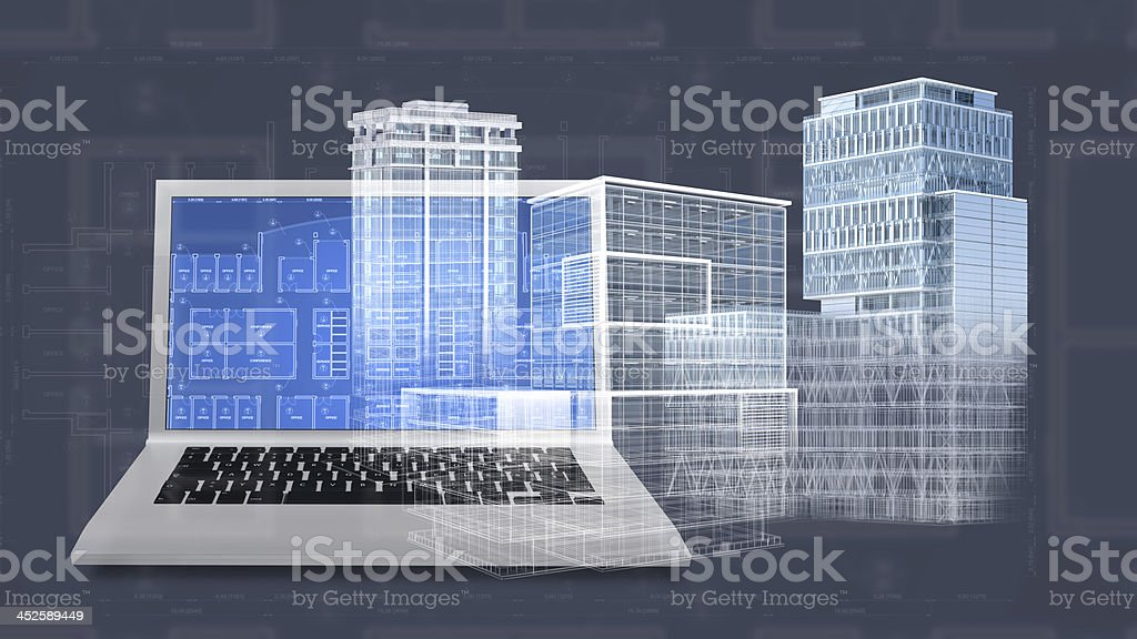 Architecture project blueprint background with 3D buildings model and computer stock photo