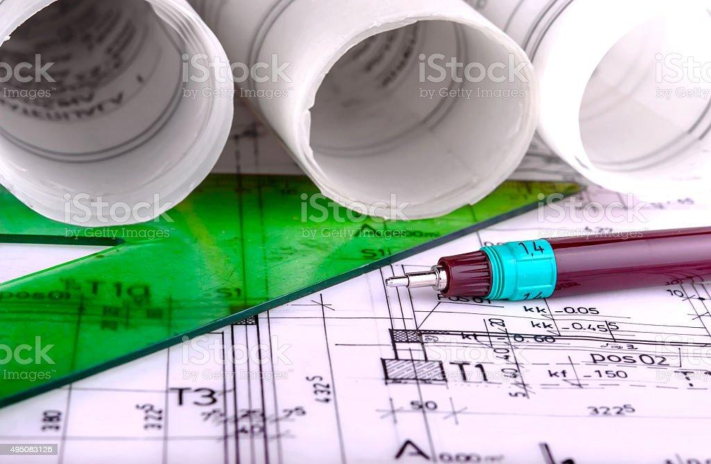 Architecture rolls architectural techical plans project architect blueprints stock photo
