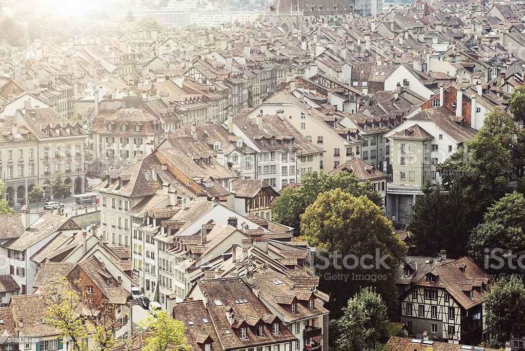 Architecture, roofs and landmarks in City of Bern, Switzerland stock photo