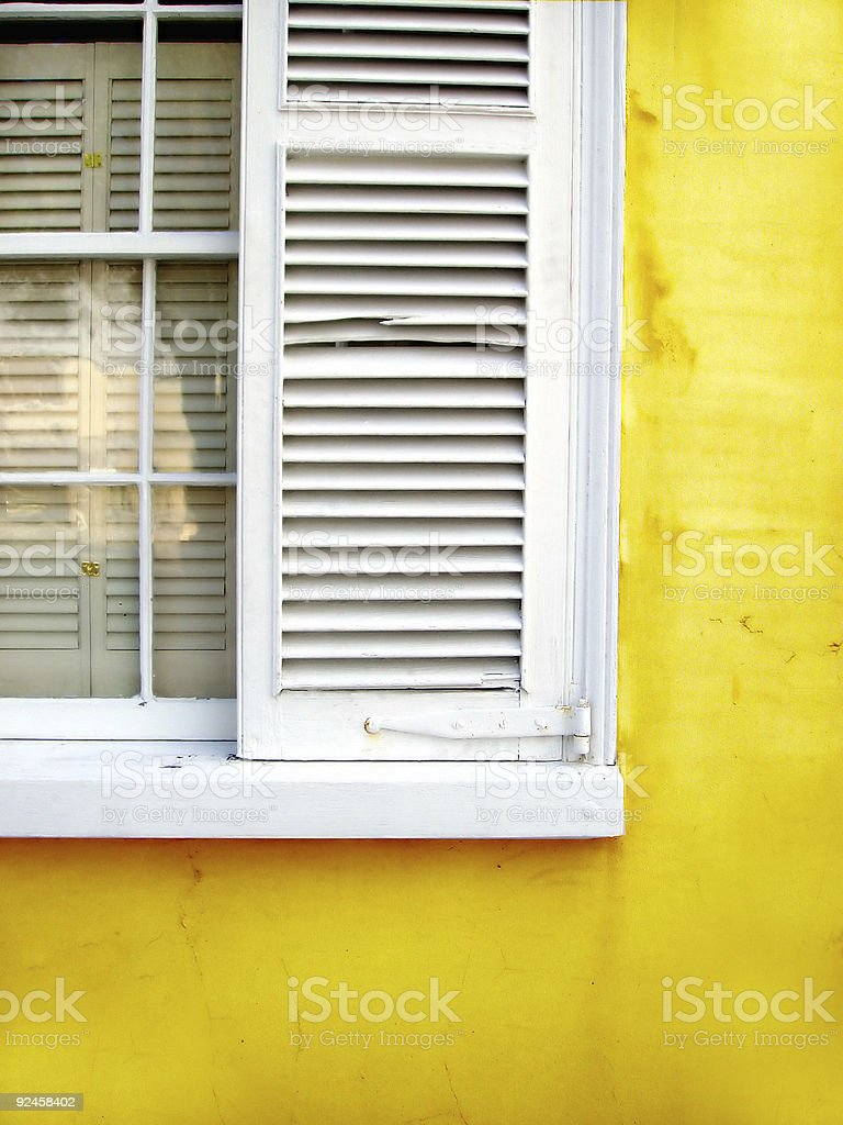 Architecture - Rustic Yellow Window, Shutters & Wall stock photo