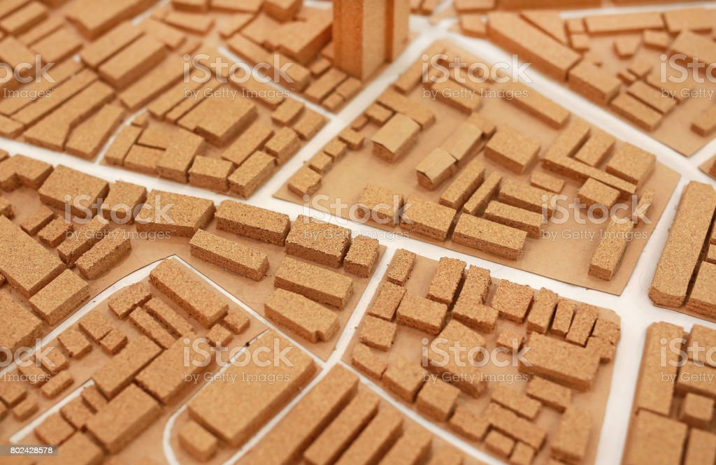 architecture small city model dummy made from cork. stock photo