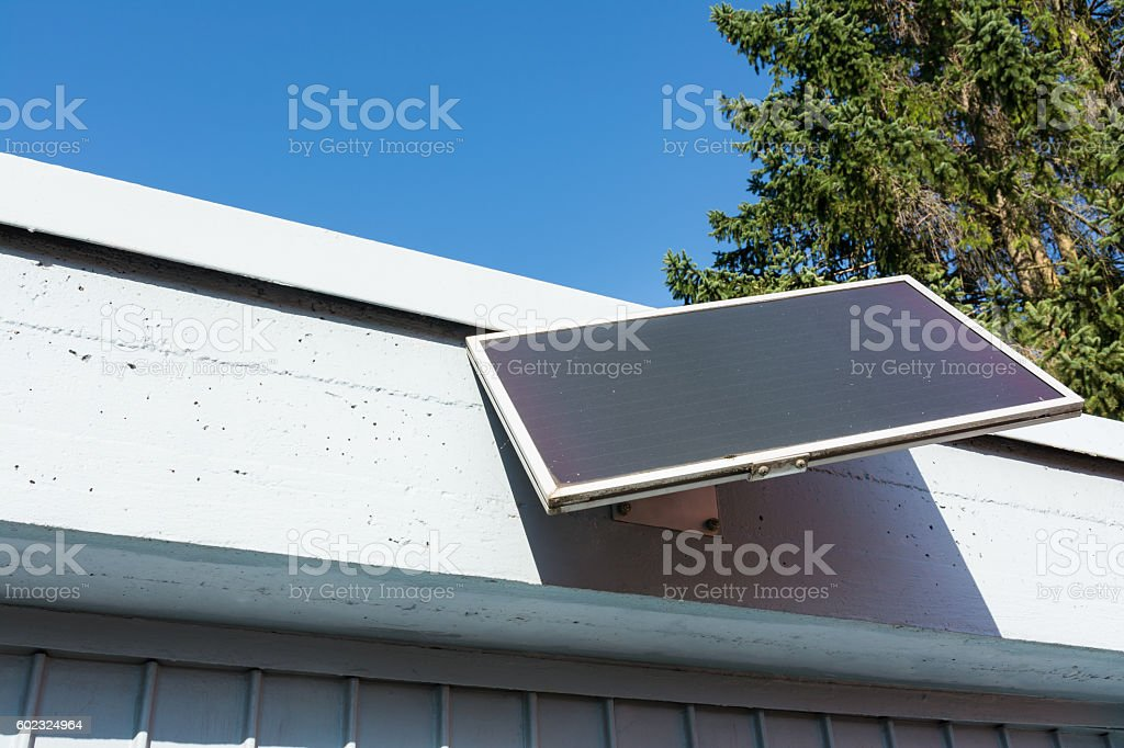 Architecture Small Installed Solar Panel Daytime Sunny Fixture stock photo
