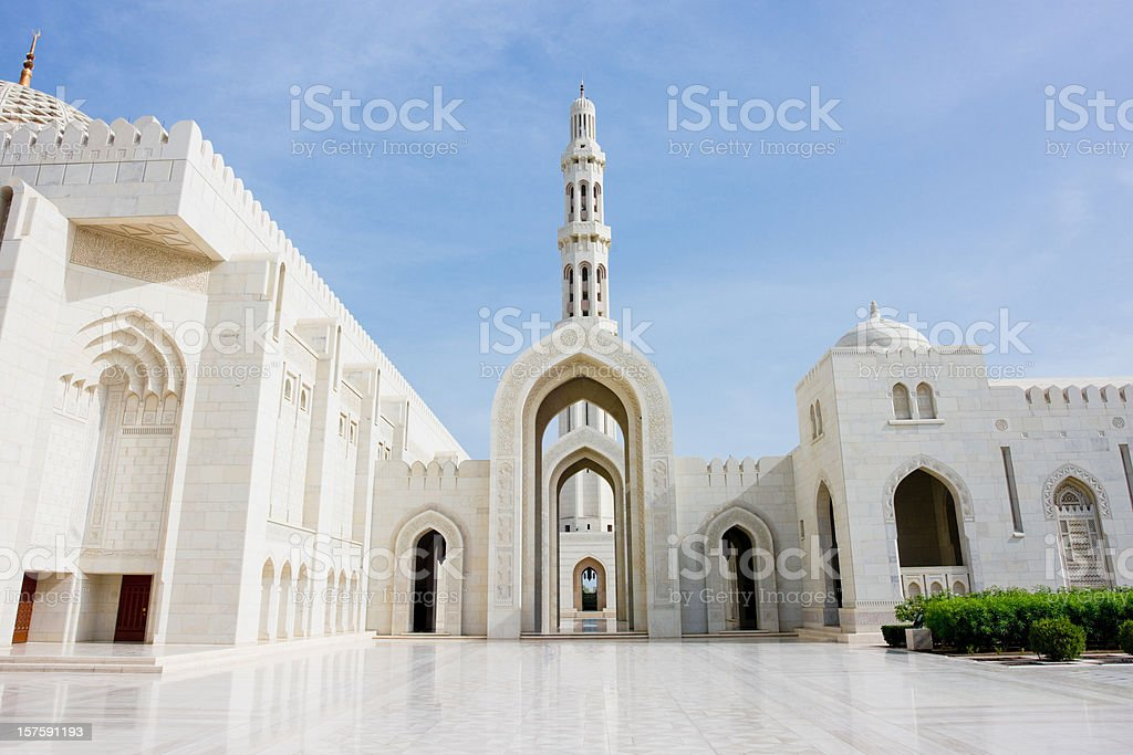 Architecture Sultan Qaboos Grand Mosque stock photo