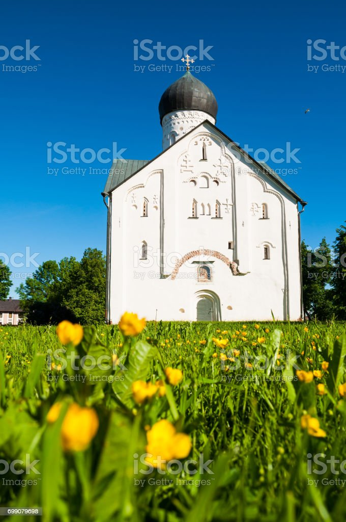 Architecture summer landscape of old church of the Transfiguration of Our Savior in Veliky Novgorod, Russia stock photo