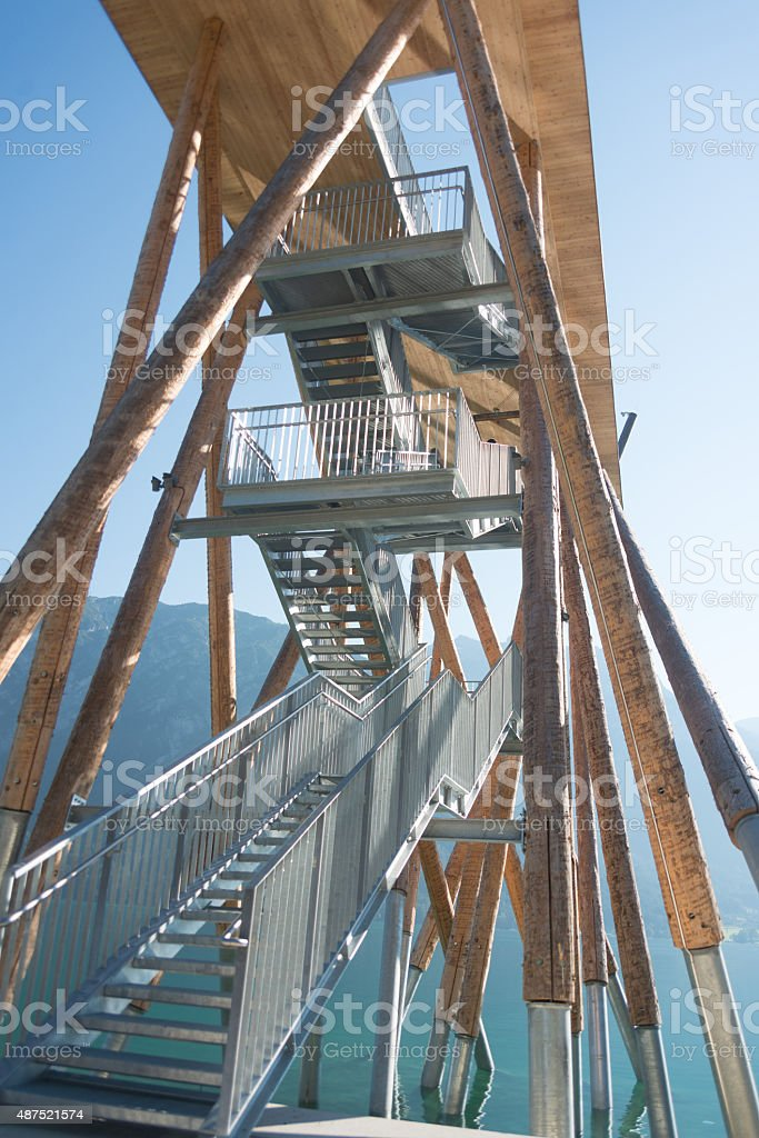 architecture tower on lake achensee stock photo