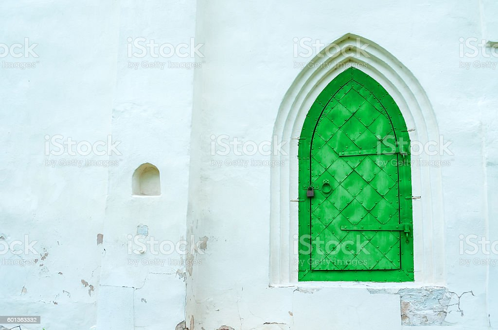 Architecture view of architecture details - aged bright green metal...