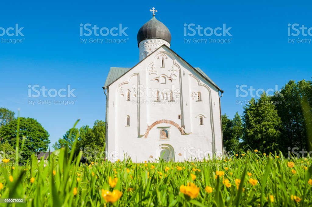 Architecture view of church of the Transfiguration of Our Savior on Ilin street in Veliky Novgorod, Russia stock photo