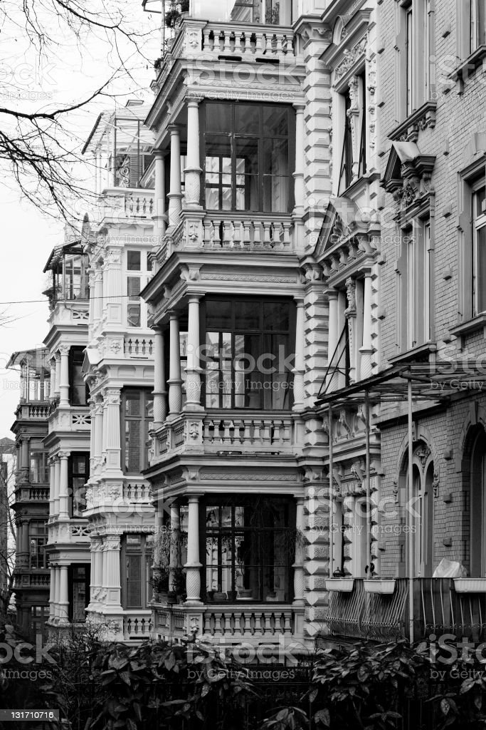 Architecture - Wilhelminian style, black and white royalty-free stock photo