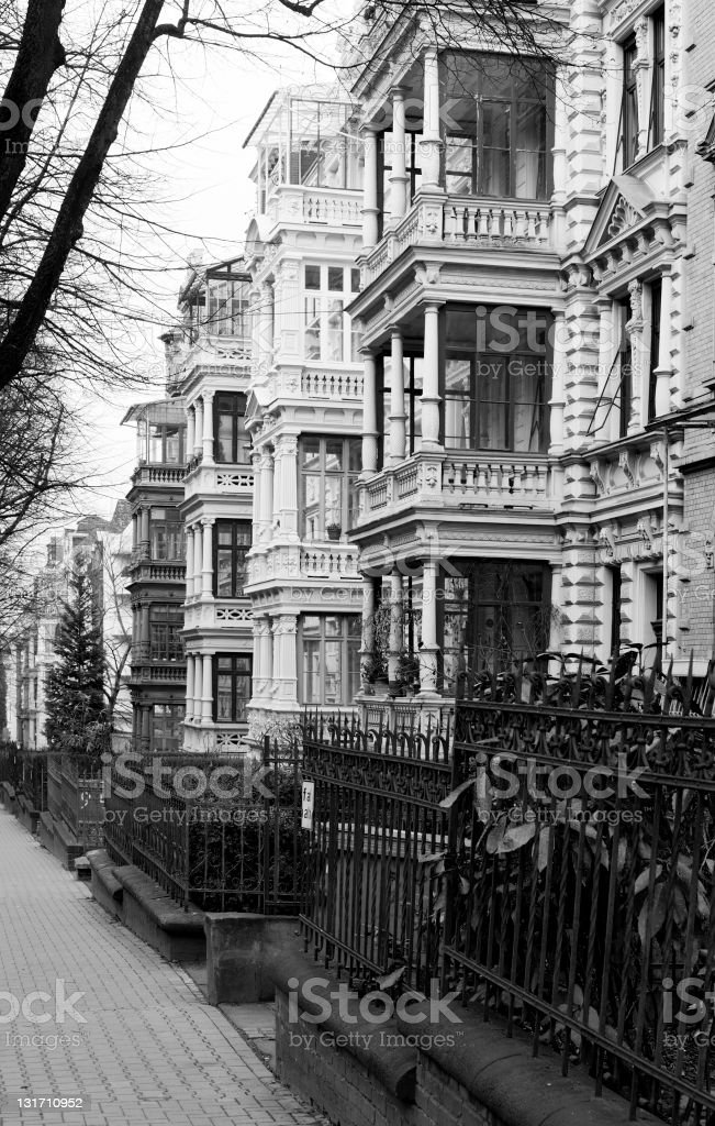 Architecture - Wilhelminian style, black and white royalty-free stock photo
