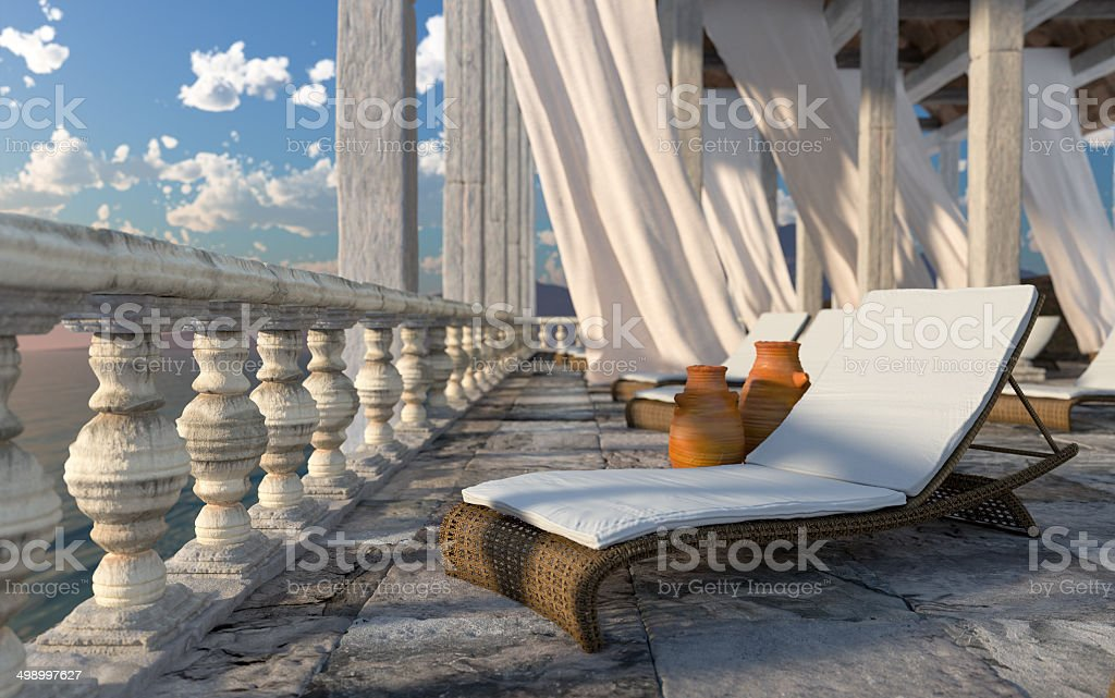architecture with sunbed concept tourism vacation background stock photo