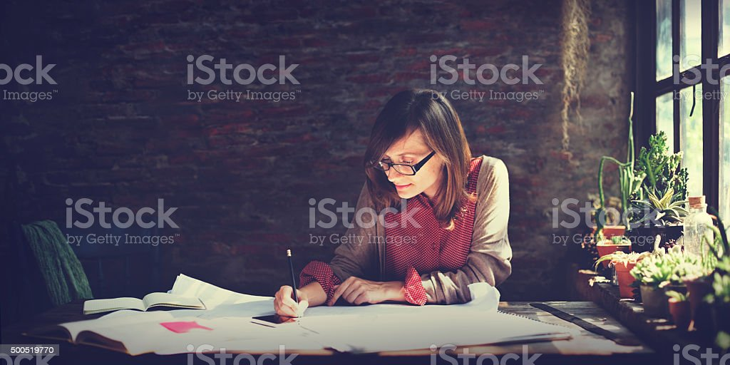 Architecture Woman Working Blue Print Workspace Concept stock photo
