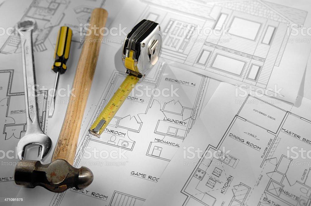 architecural plans series stock photo