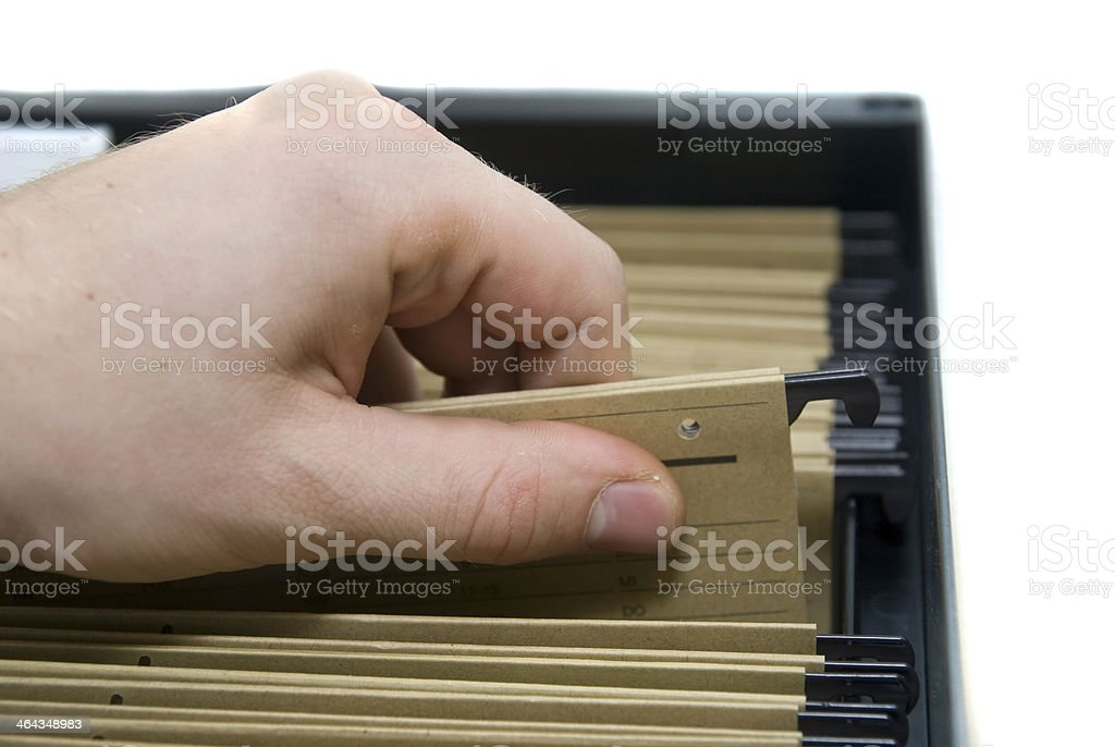 archiv - sort the archive and find register white background royalty-free stock photo