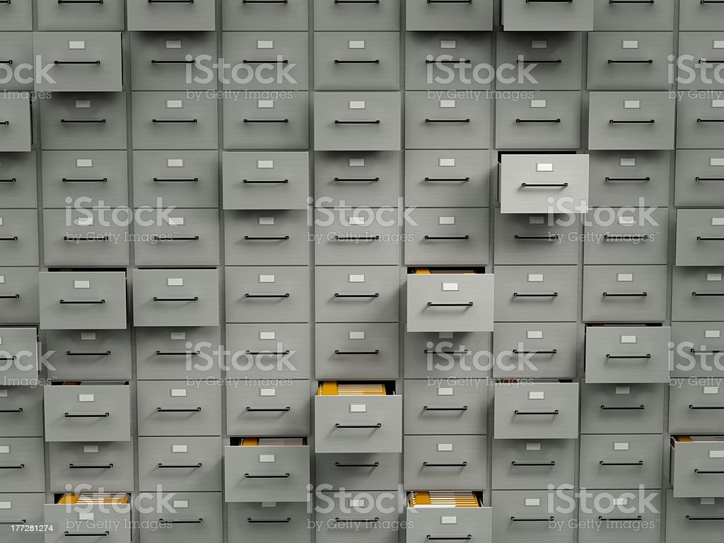 Archive cabinets with folders stock photo