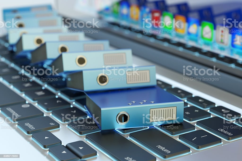 Archive documentation catalog and electronic document management concept stock photo