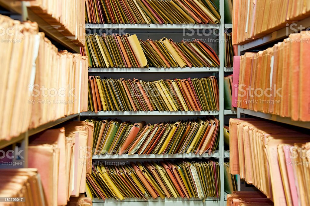 Archive shelves royalty-free stock photo