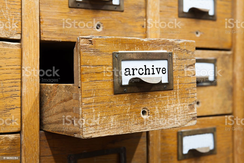 Archive system concept photo. Opened box storage, filing cabinet interior stock photo
