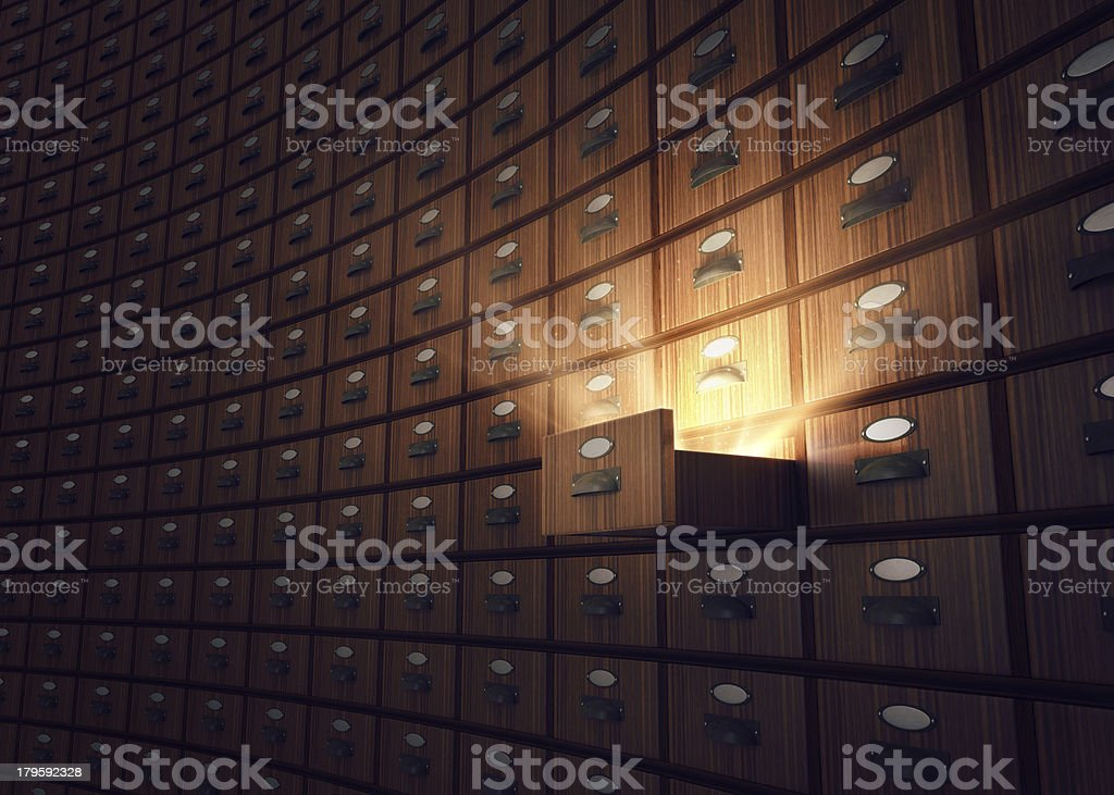 Archive with opened drawer stock photo