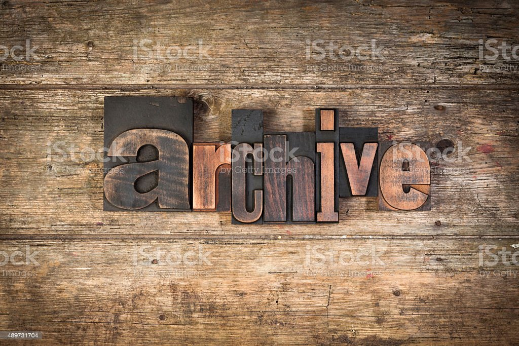archive, word written with vintage letterpress type stock photo