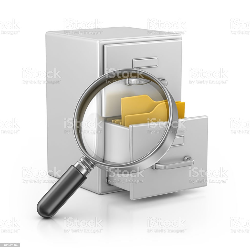 archives and loupe royalty-free stock photo
