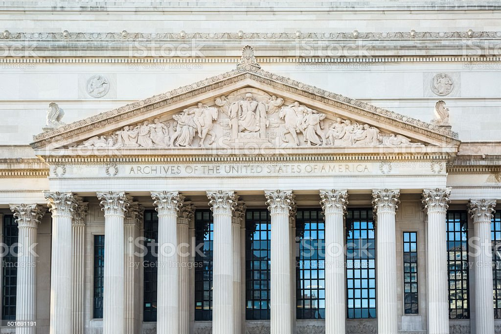 Archives of Unites States of America - Pennsylvania Avenue Facade royalty-free stock photo