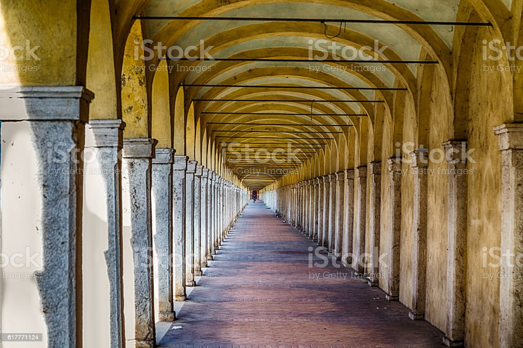 Archs of ancient porch stock photo