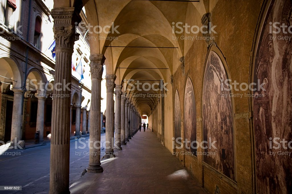 Archway Architecture in Perspective, Bologna Italy stock photo