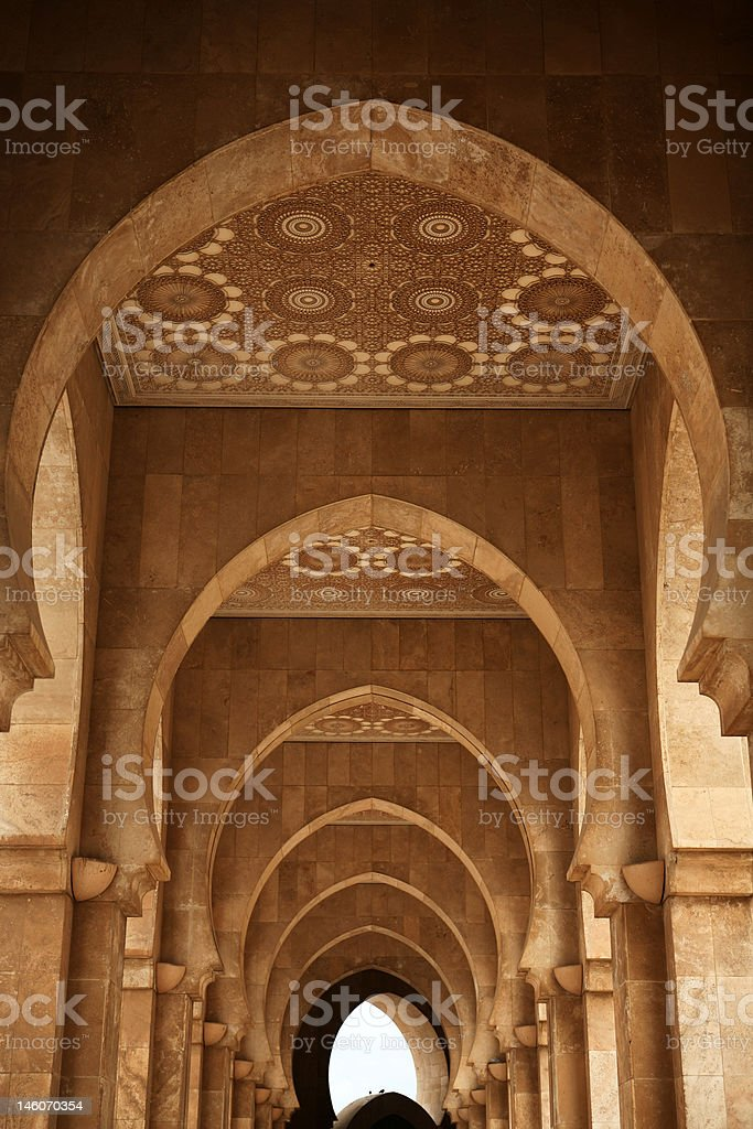 Archway at Hassan II mosque - Casablanca royalty-free stock photo