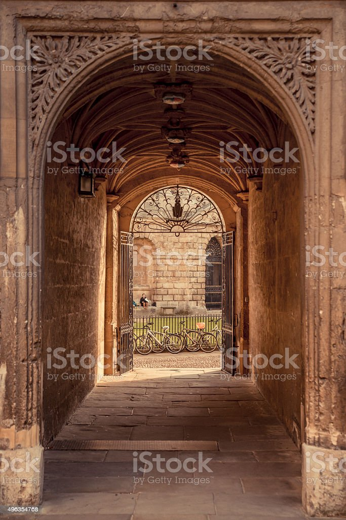 Archway at the Bodleian library stock photo