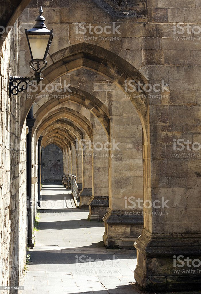 Archway at Winchester Cathedral stock photo