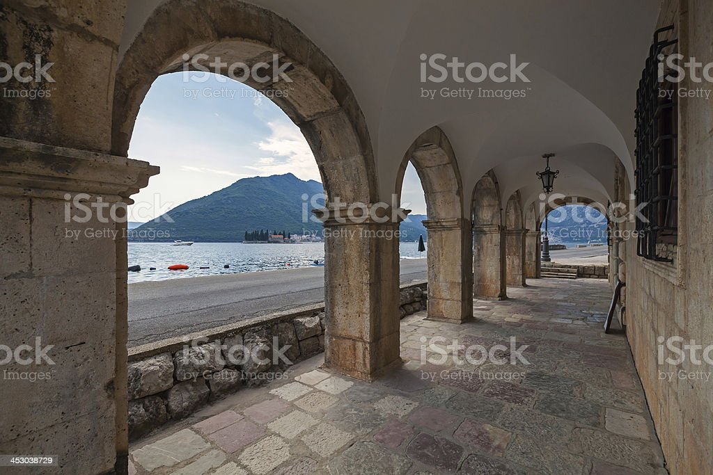 Archway in old house, Perast town stock photo