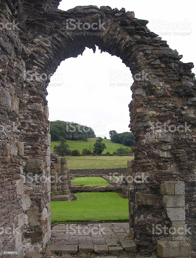 Archway in Ruins of a Monastry, royalty-free stock photo