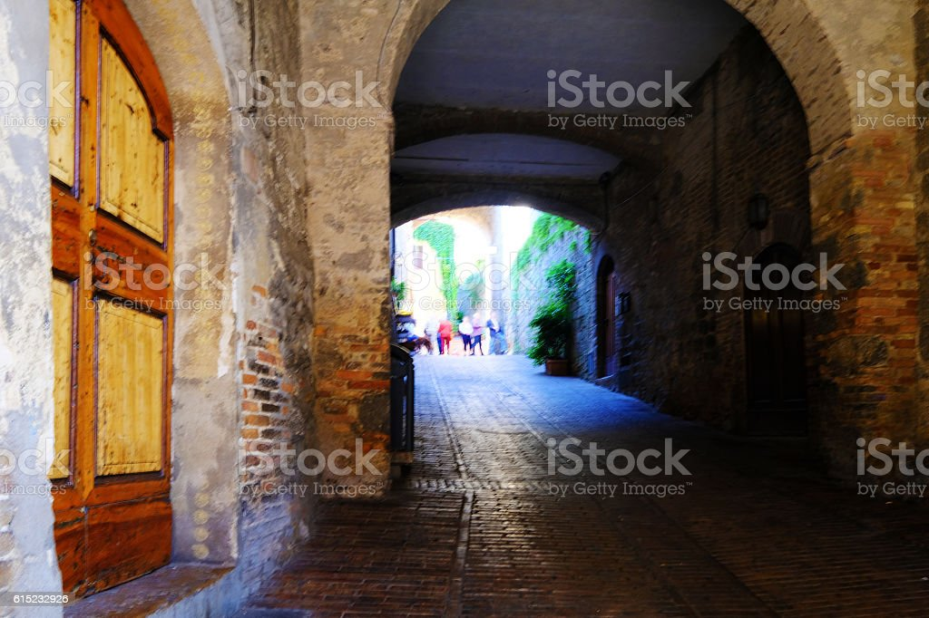 Archway in San Gimignano stock photo
