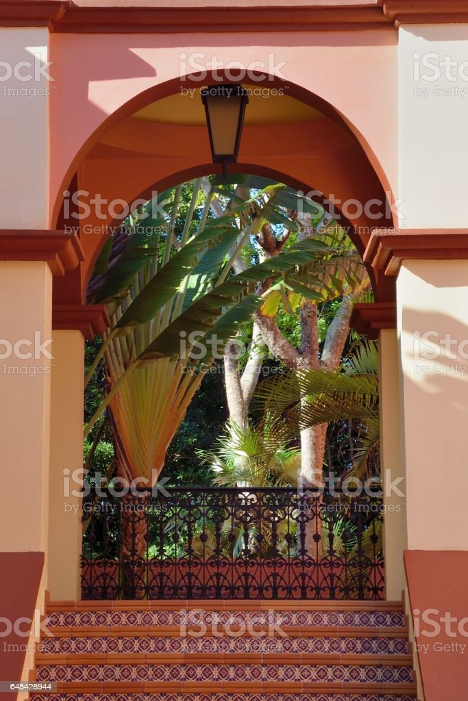 Archway in  tropical hotel stock photo