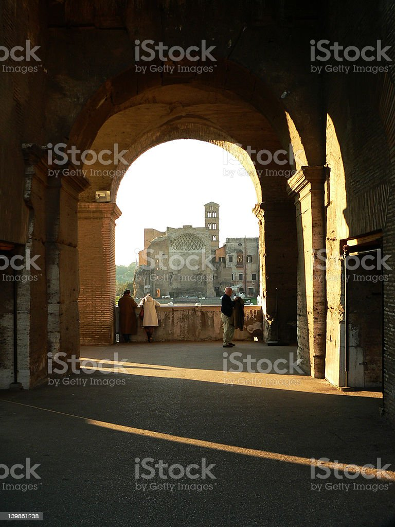 Archway Inside Colosseum royalty-free stock photo