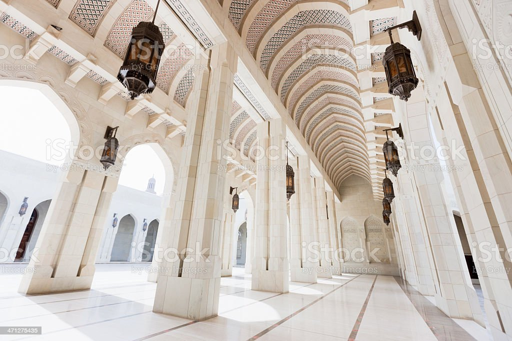 Archway Inside Grand Mosque Sultan Qaboos stock photo