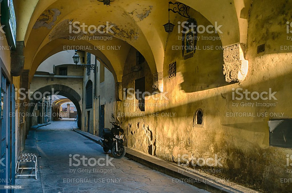Archway on italian street stock photo