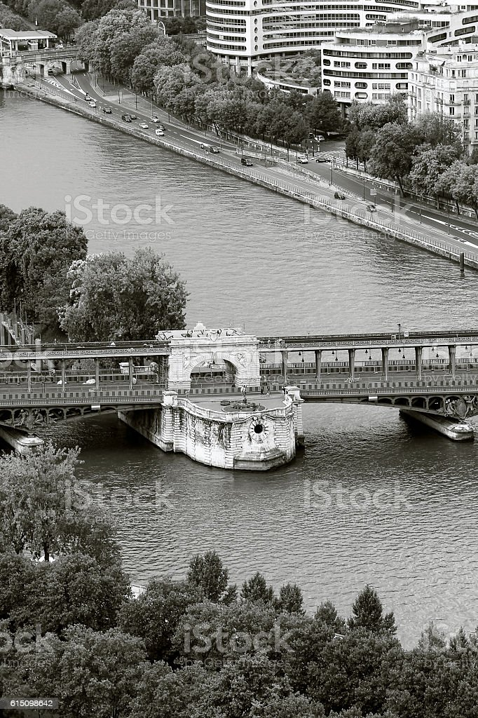 Archway on the Pont de Bir-Hakeim, Paris stock photo