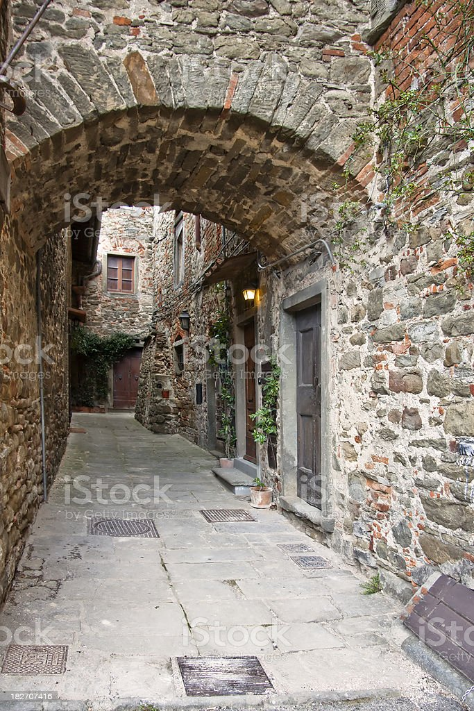 Archway Passage in Tuscan Village, Chianti Region royalty-free stock photo