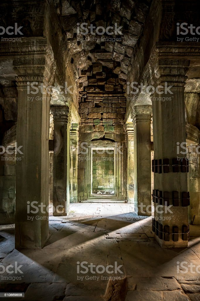 Archway Preah Khan Temple Light and Shadow Cambodia stock photo