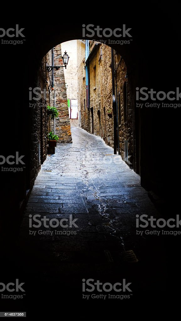Archway to 15th Century Buildings stock photo