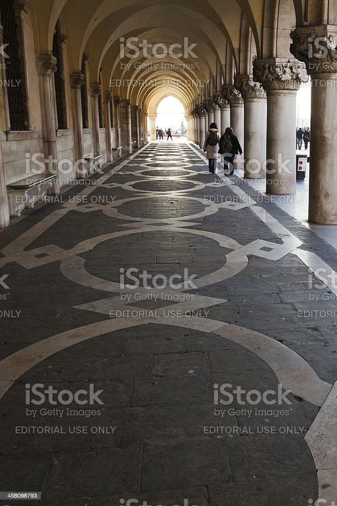 archway under the Doge's Palace in Venice royalty-free stock photo