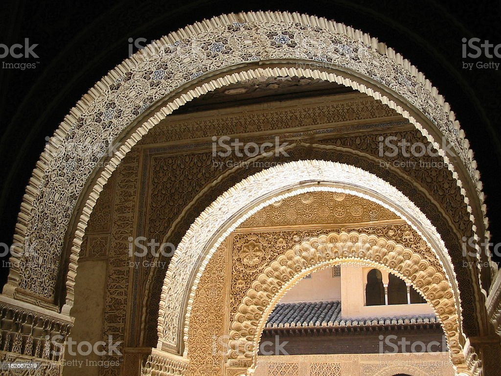 Archways at the Alhambra royalty-free stock photo