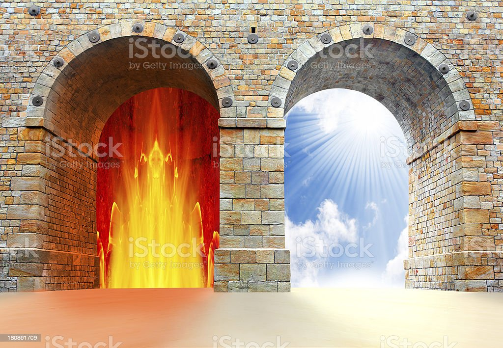 Archways containing fire and sky symbolic of hell & heaven stock photo