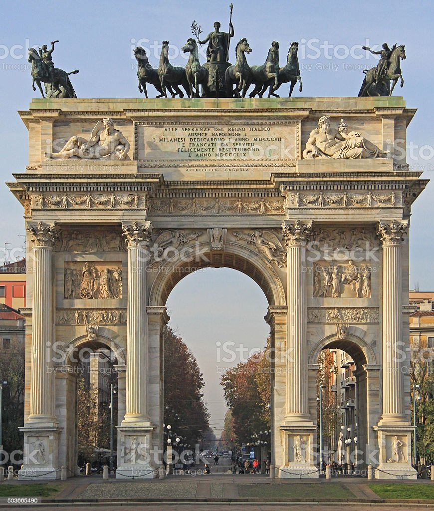 Arco della Pace on piazze Sempione stock photo